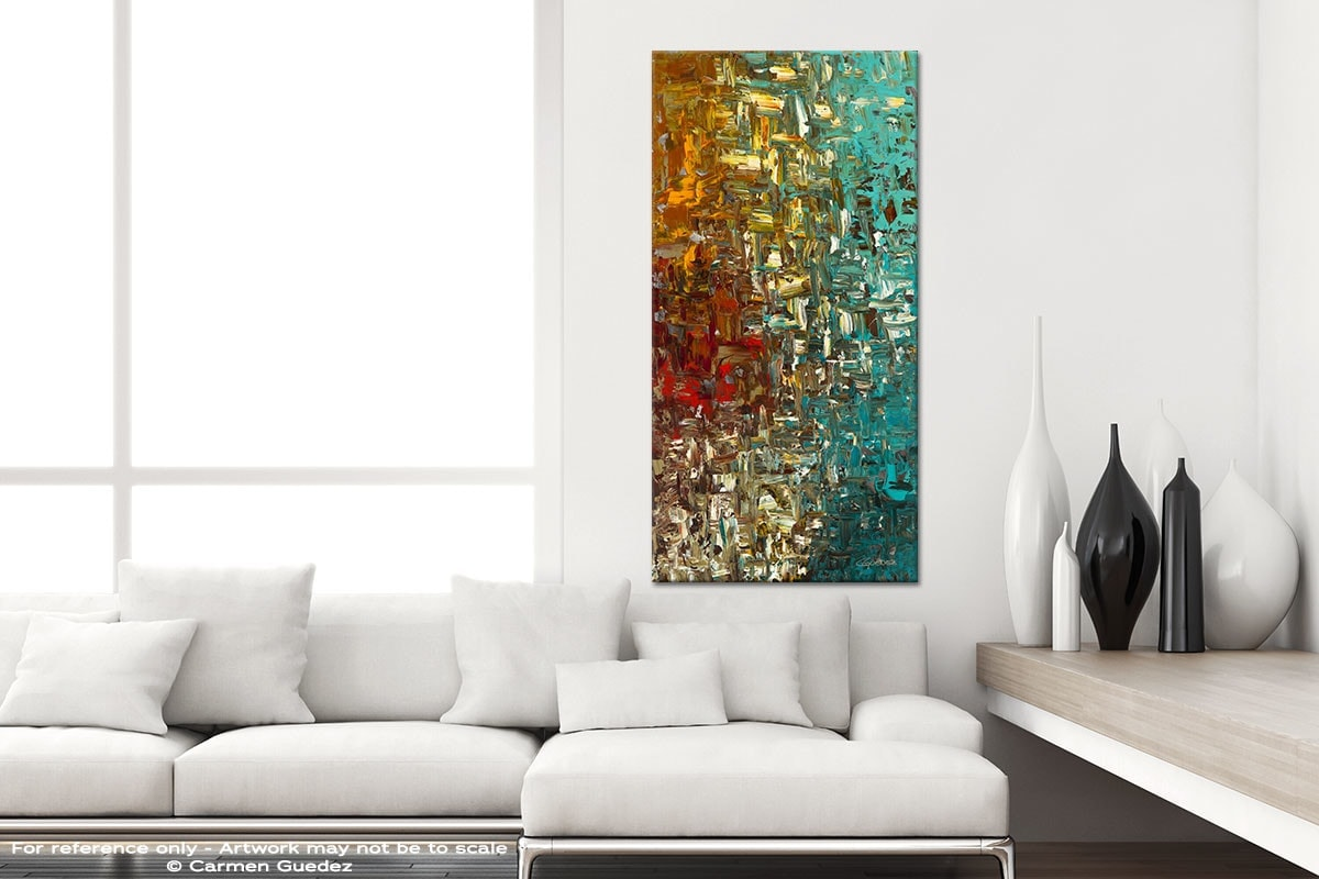 A Moment In Time Vertical Abstract Art Canvas Painting Id44
