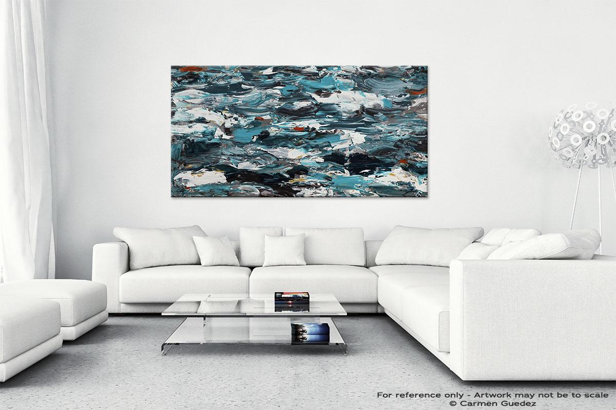 Abstract Wall Art Painting On Canvas Id1 Aquamarine Adventure