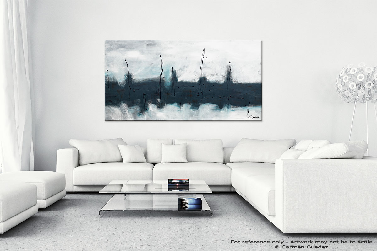Abstract Wall Art Painting On Canvas Id1 Blue Harbour