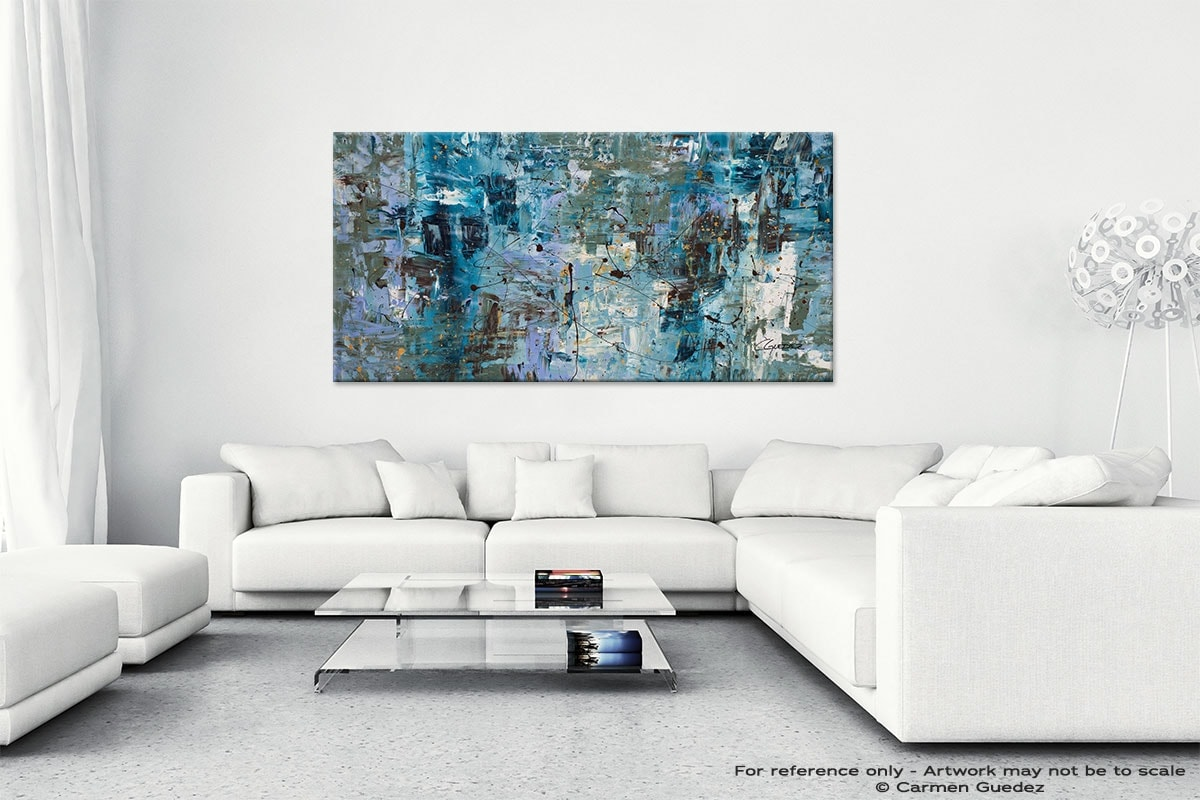 Abstract Wall Art Painting On Canvas Id1 Blue Ocean