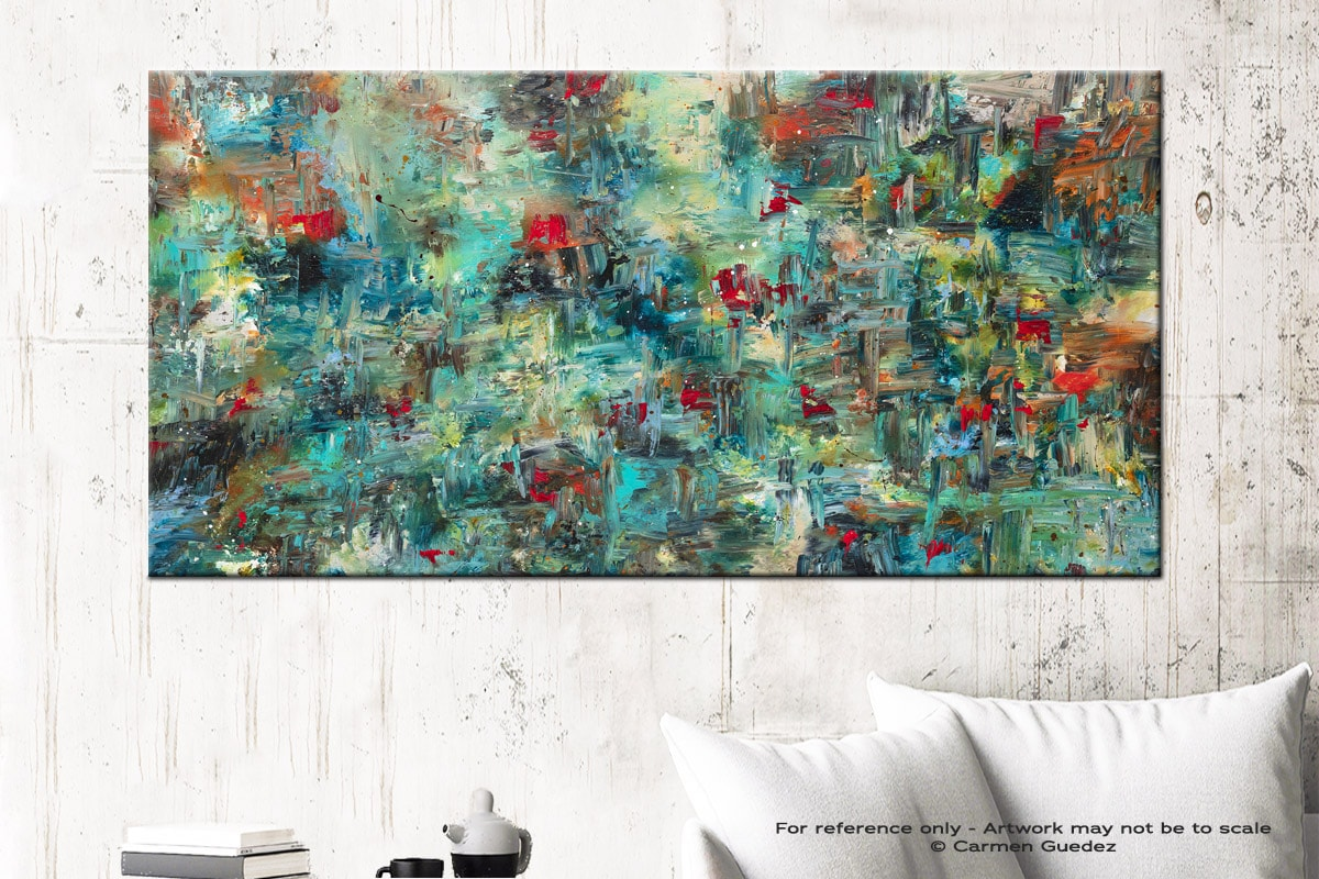 Aquatic Blooms Abstract Art Canvas Painting Id72