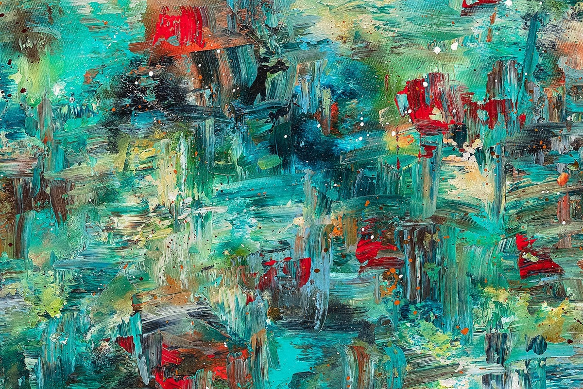 Aquatic Blooms Abstract Art Painting Close Up