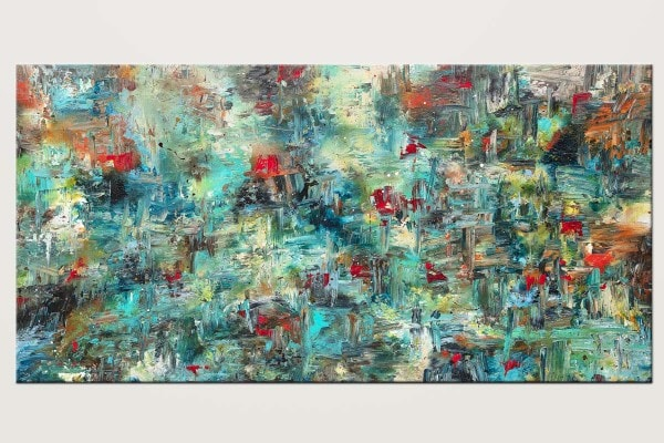 Aquatic Blooms Huge Abstract Painting In Blue V1 Id80