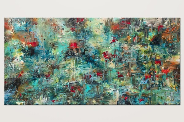 Aquatic Blooms Huge Abstract Painting In Blue Id80