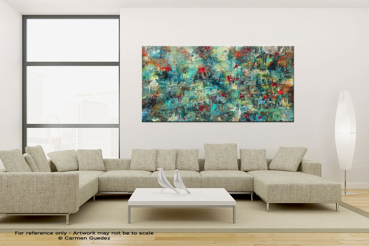 Aquatic Blooms Large Canvas Abstract Painting Id6