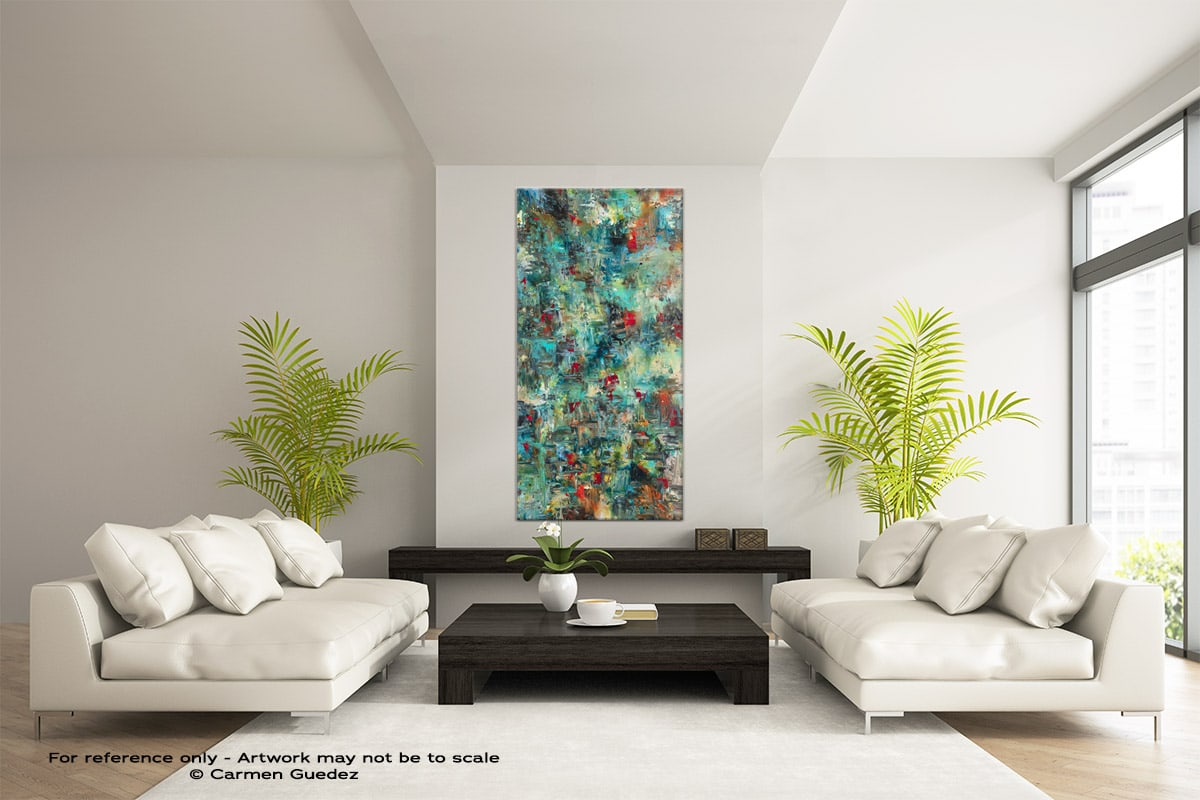 Aquatic Blooms Vertical Large Abstract Painting Id16