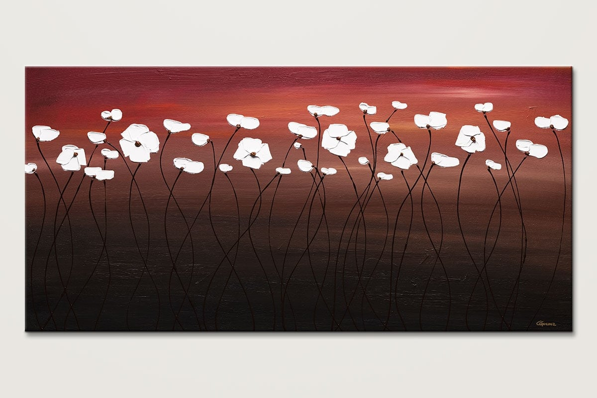 Atardecer White Flowers Abstract Painting Id80