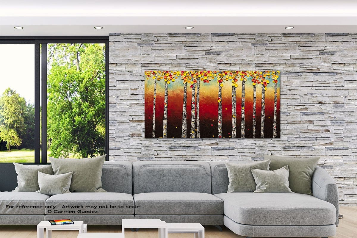 Autumn Birch Trees Abstract Canvas Painting Interior Decor Id33