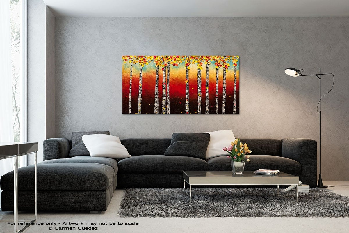 Autumn Birch Trees Black And White Wall Abstract Art Painting Id70