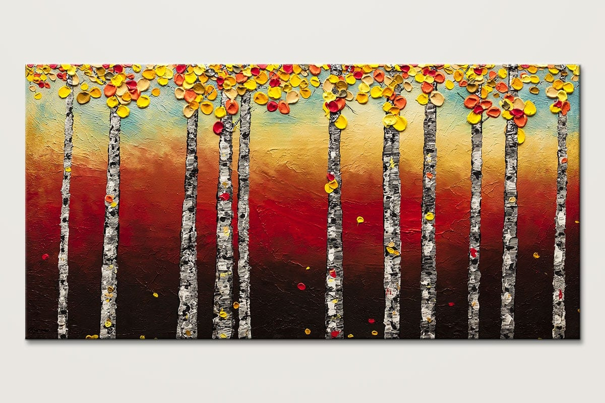 Abstract Art Painting-Autumn Birch Trees-Landscape Abstract Art Paintings by Carmen Guedez - Image
