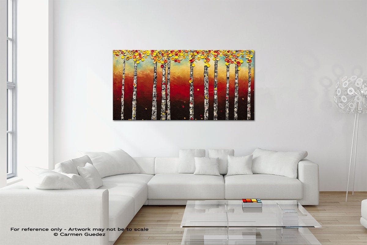 Autumn Birch Trees Original Neutral Abstract Wall Art Room Id39