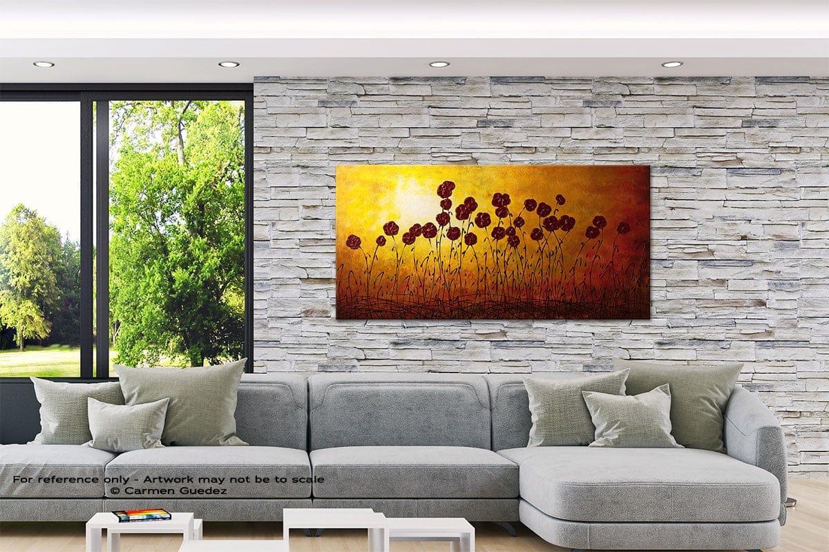 Autumn Valley Abstract Canvas Painting Interior Decor Id33