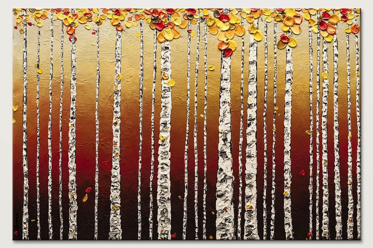 Birch Trees - Abstract Art Painting Image by Carmen Guedez