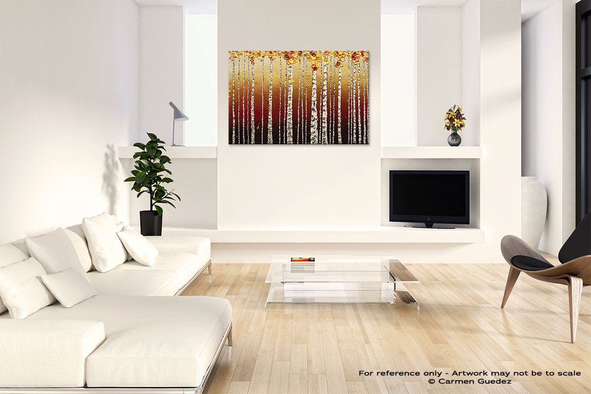 Birch Trees Abstract Art Painting Interior Living Room Design Id60