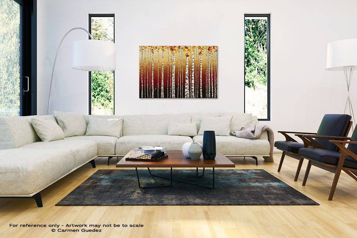 Birch Trees Abstract Painting Interior Decor Art Id61