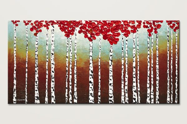 Birch Trees In The Fall Abstract Art Painting Id80