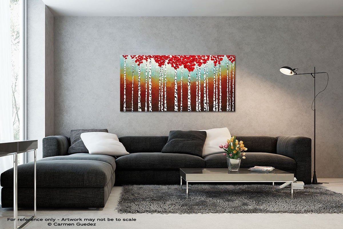 Birch Trees In The Fall Black And White Wall Abstract Art Painting Id70