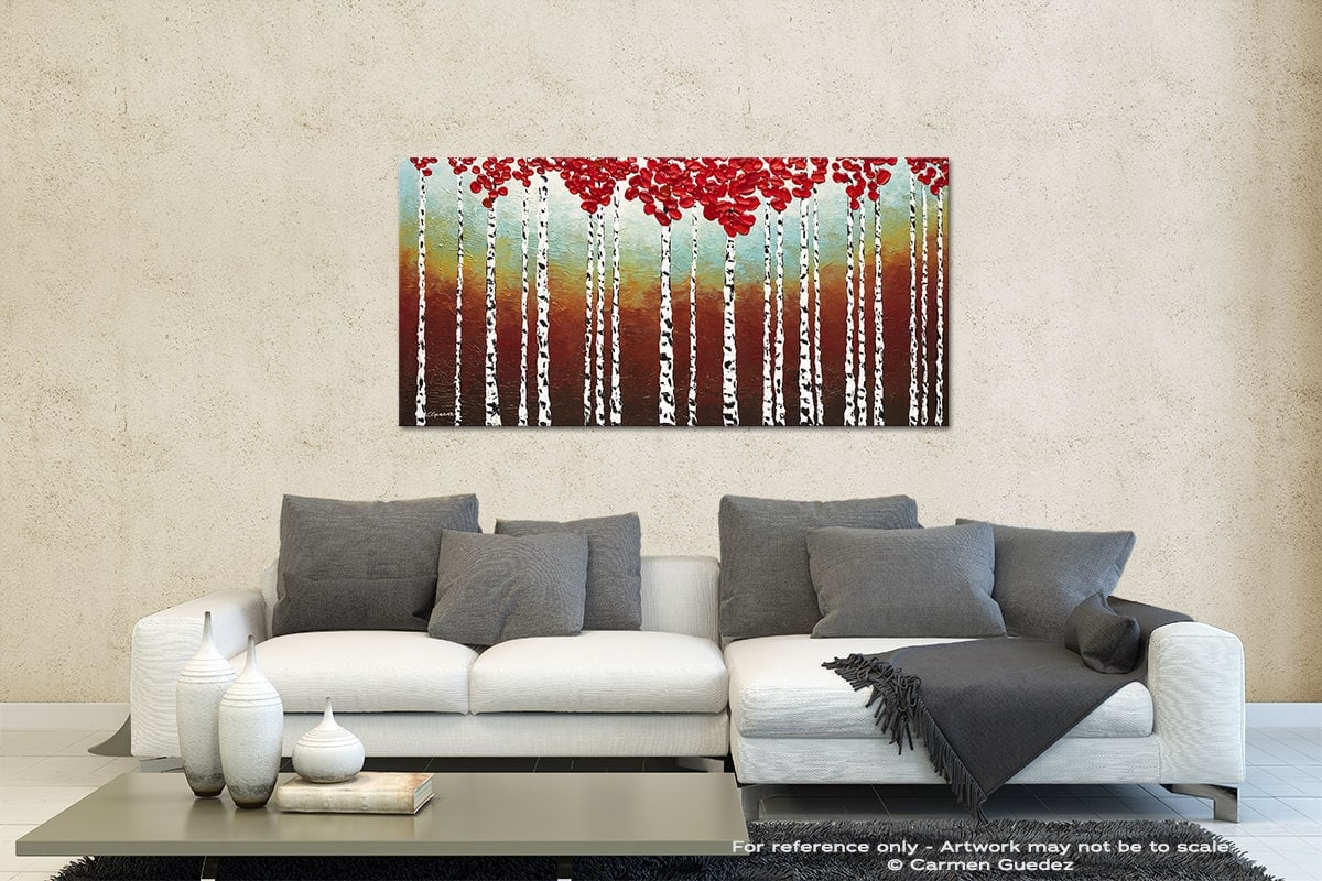 Birch Trees In The Fall Contemporary Abstract Art Id35