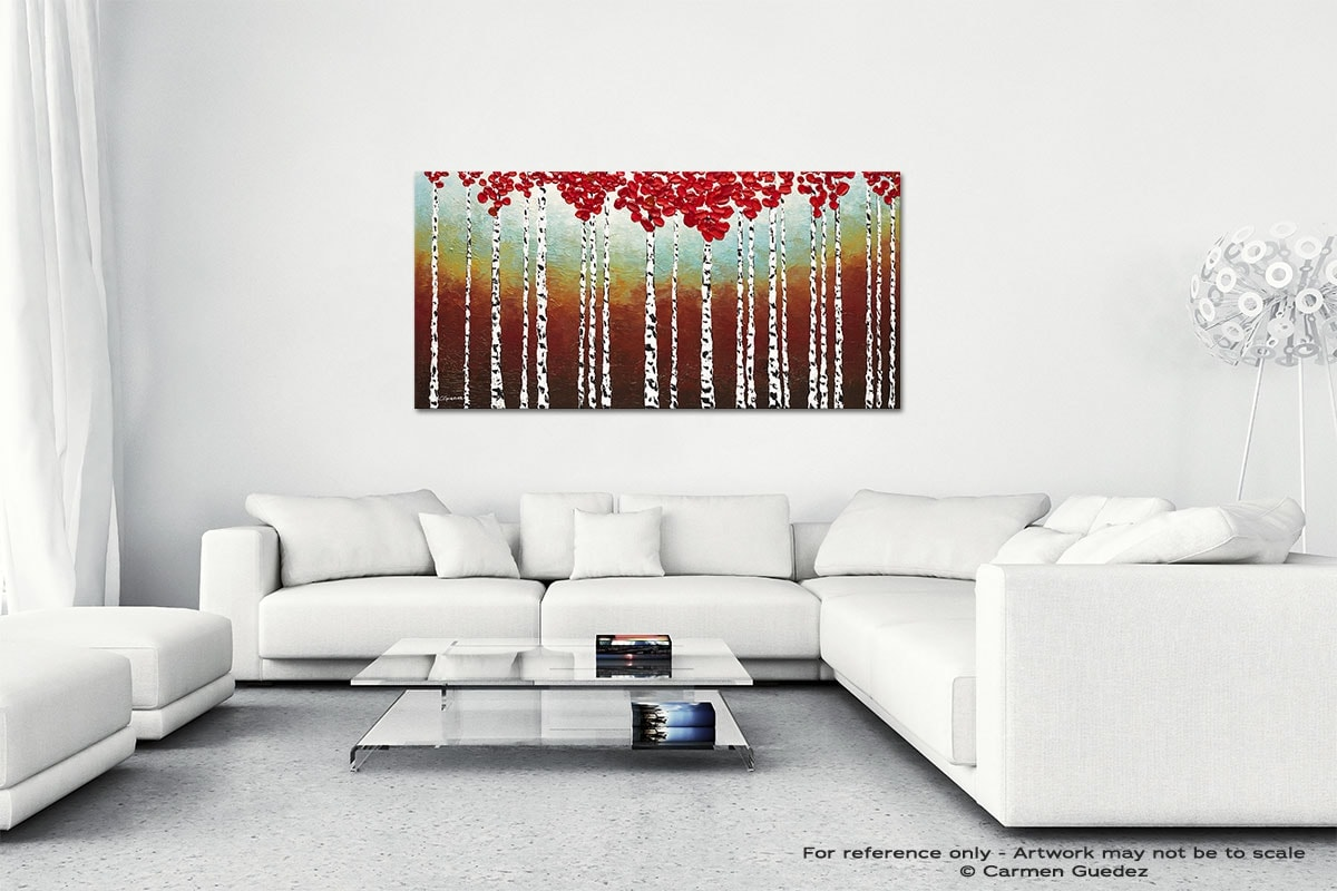Birch Trees In The Fall Wall Art Canvas Painting Id40
