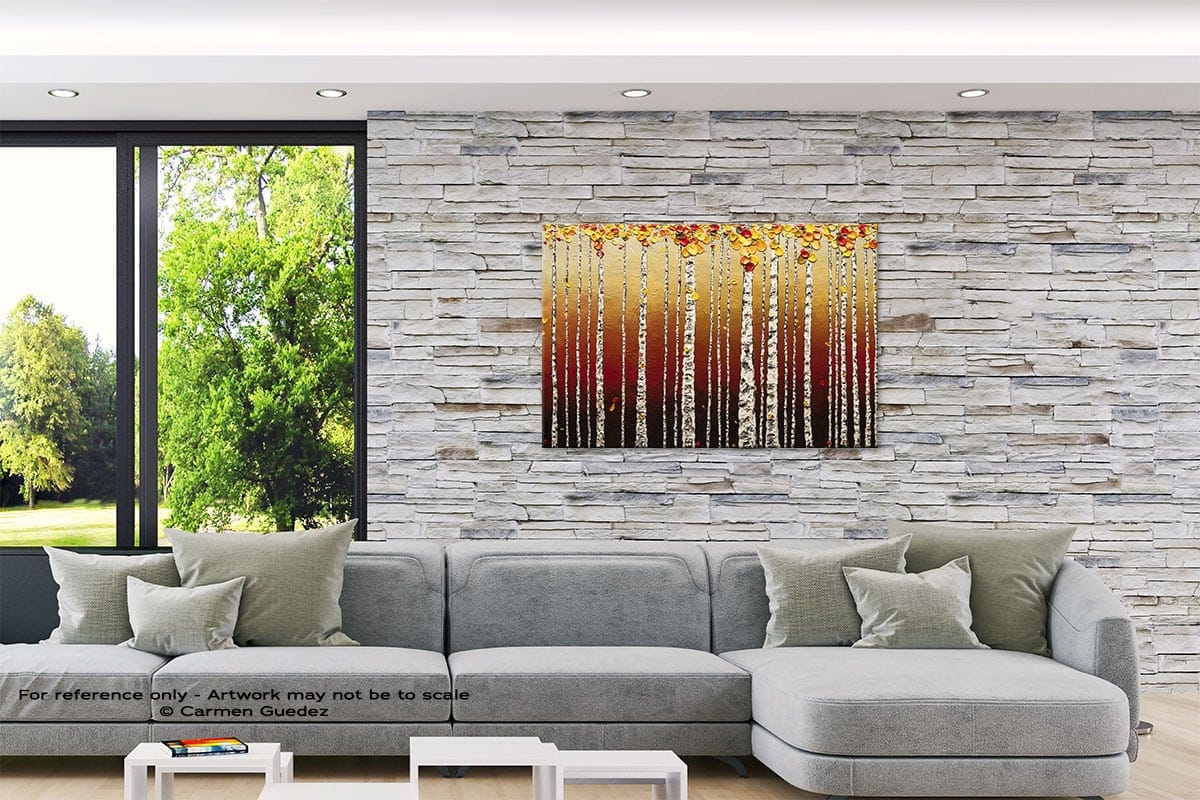 Birch Trees Original Abstract Painting On Canvas Id62