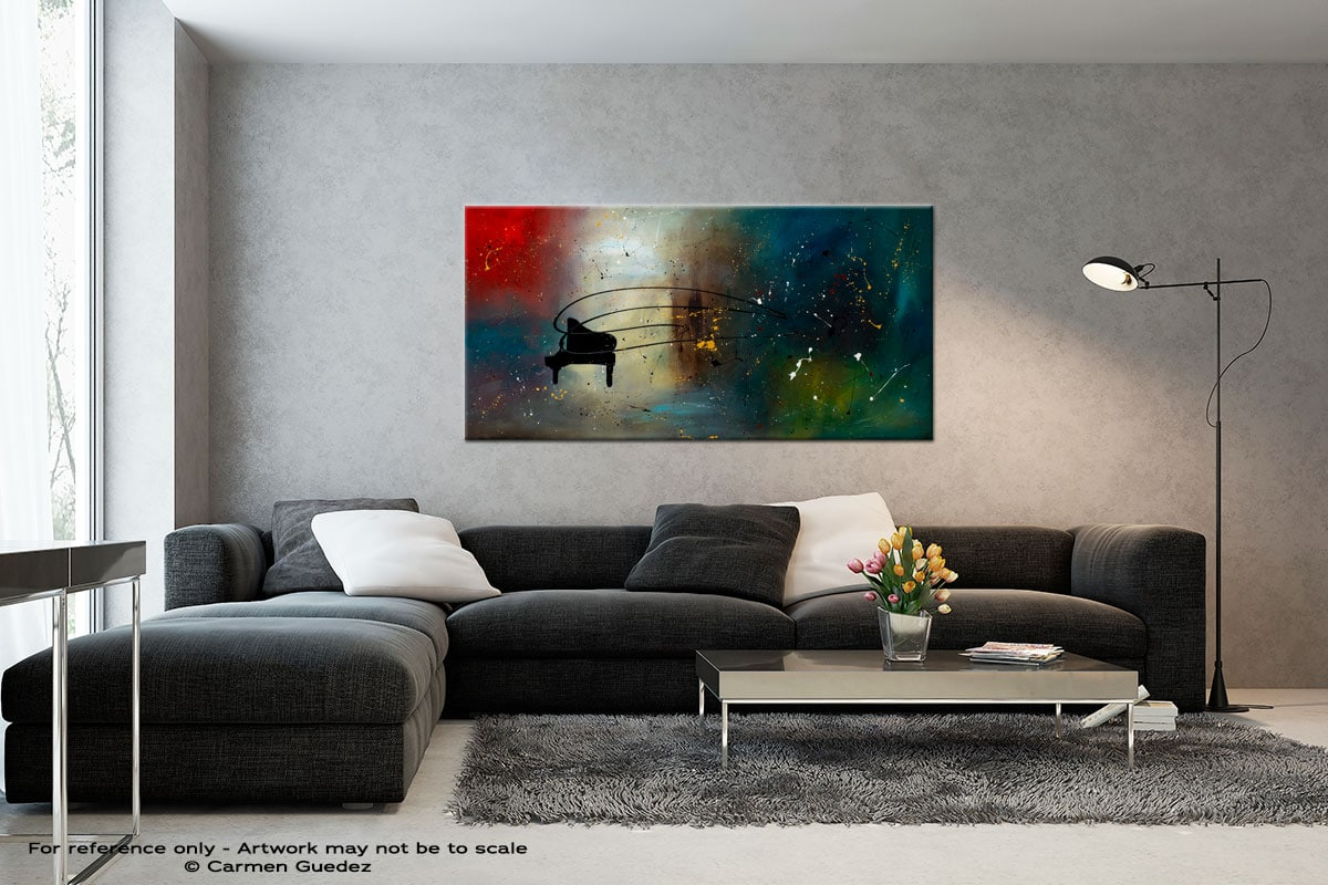 Black Piano Black And White Wall Abstract Art Painting Id70