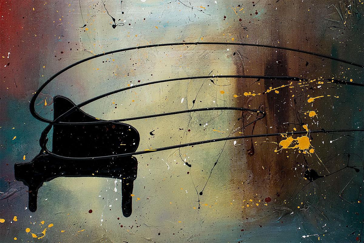 Black Piano Colorful Wall Art Painting Close Up