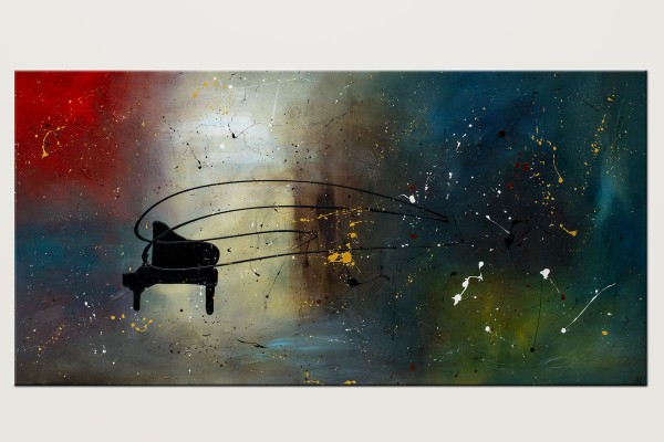 Black Piano Colorful Wall Art Painting Id80