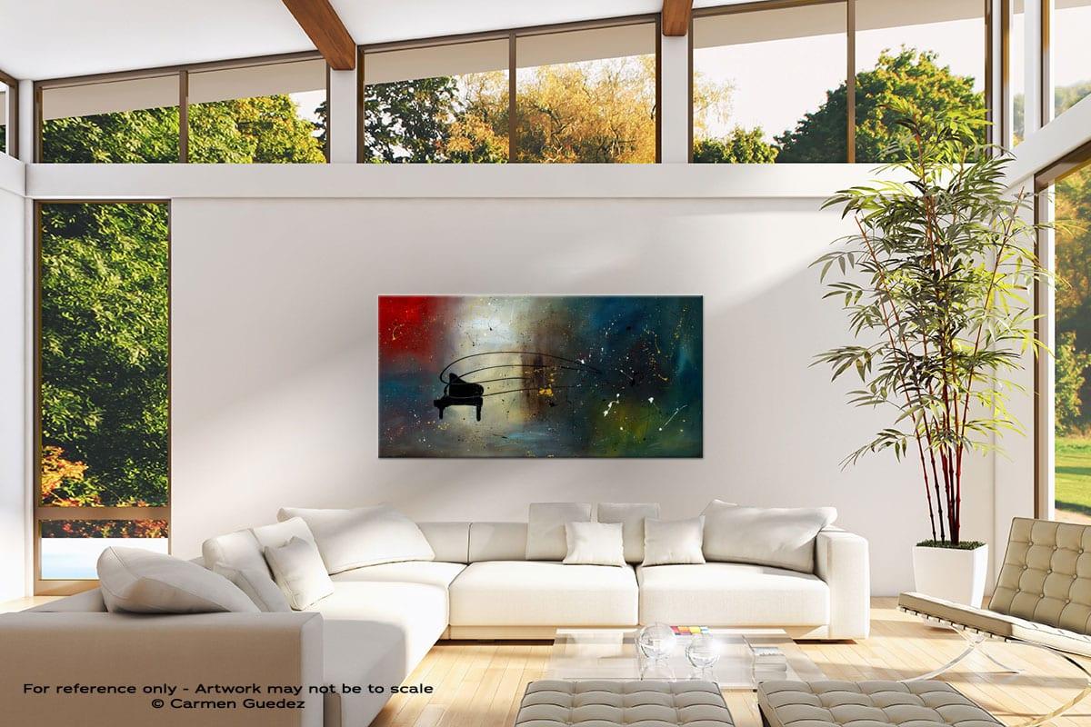Black Piano Modern Canvas Abstract Art Id38