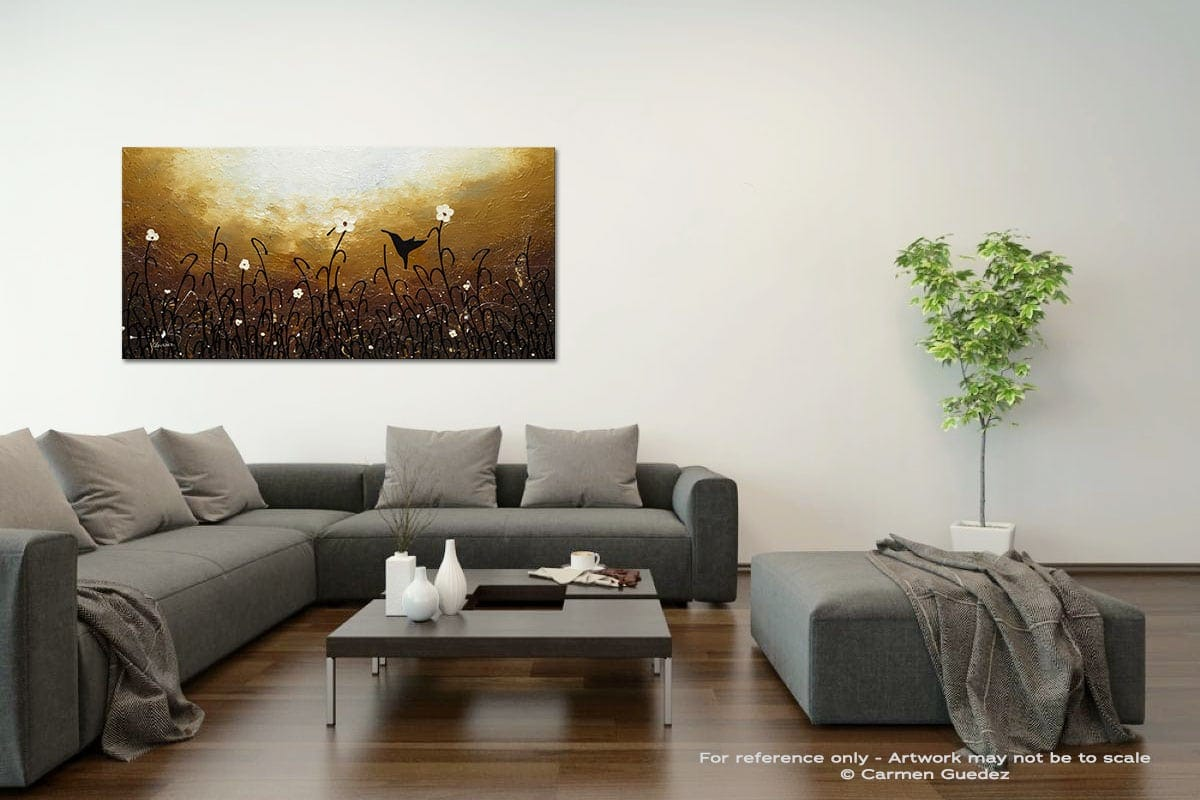 Blossom And Bird Acrylic Gray Wall Art Painting Id34