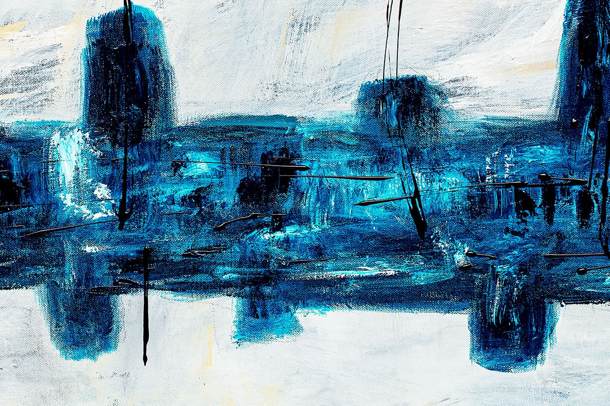 Blue City Abstracct Art Painting Close Up
