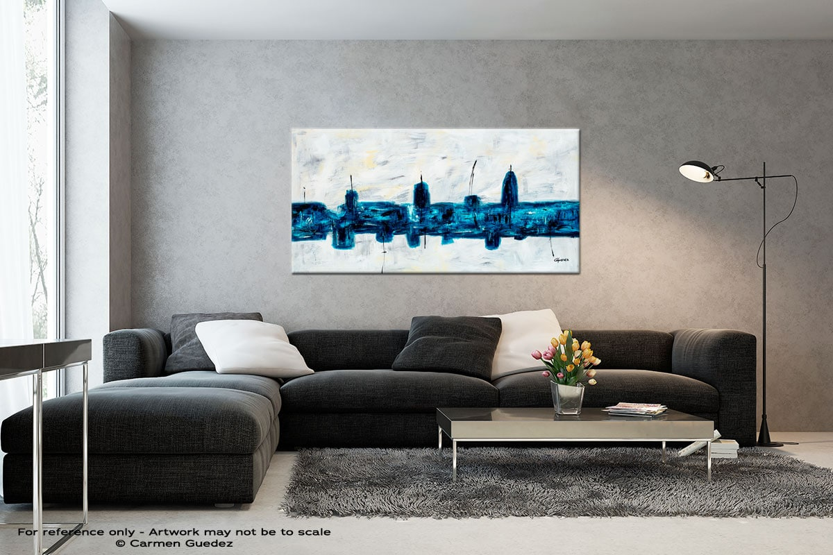 Blue City Black And White Wall Abstract Art Painting Id70