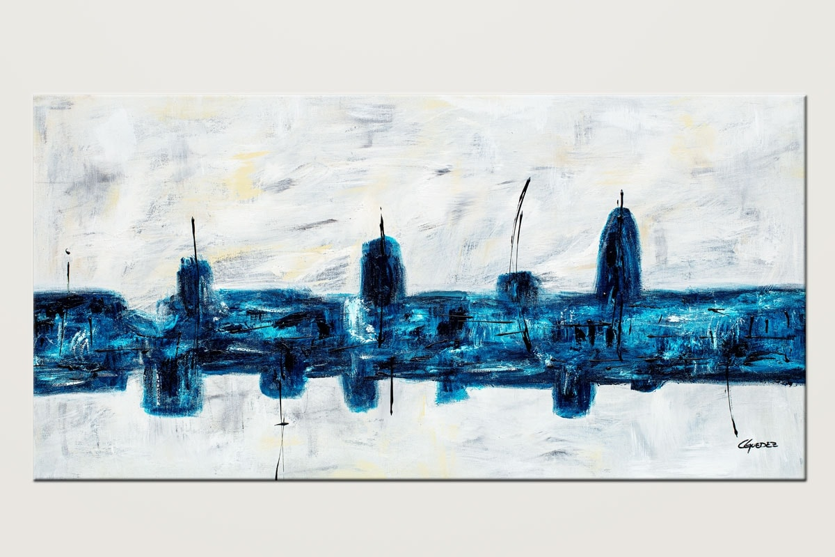 Blue City Original Blue And White Abstract Art
