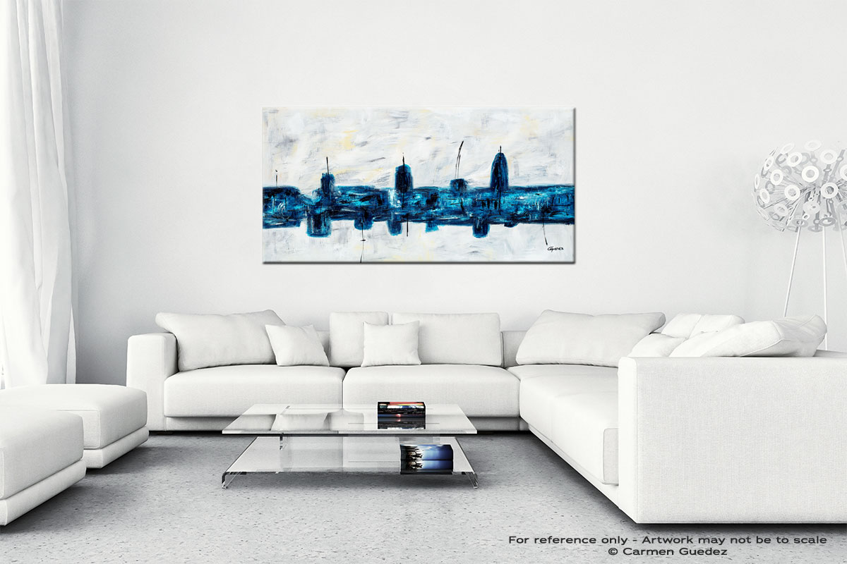 Blue City Wall Art Canvas Painting Id40