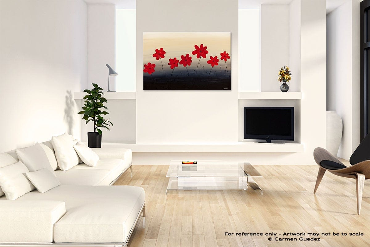 Blue Ridge Mountain Flowers Abstract Art Painting Interior Living Room Design Id60