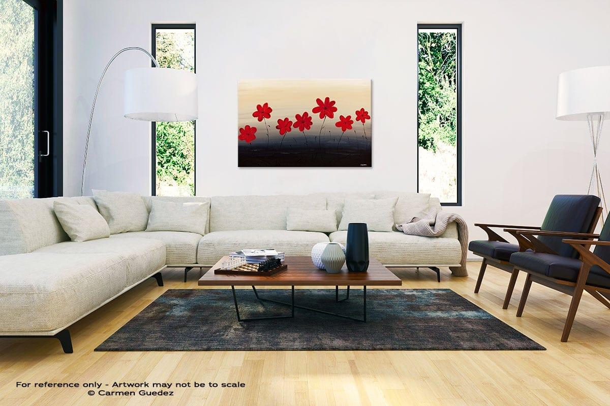 Blue Ridge Mountain Flowers Abstract Painting Interior Decor Art Id61