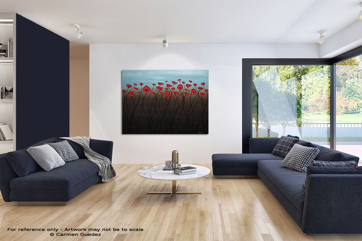 Blue Sky Modern Blue Abstract Painting Home Id50