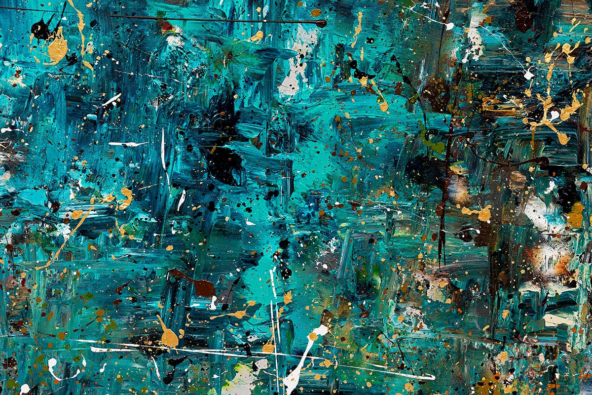 By The Lake Abstract Art Painting Close Up