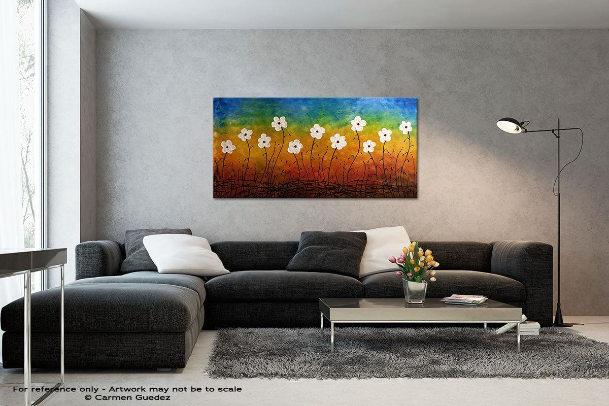 California Morning Poppies Black And White Wall Abstract Art Painting Id70