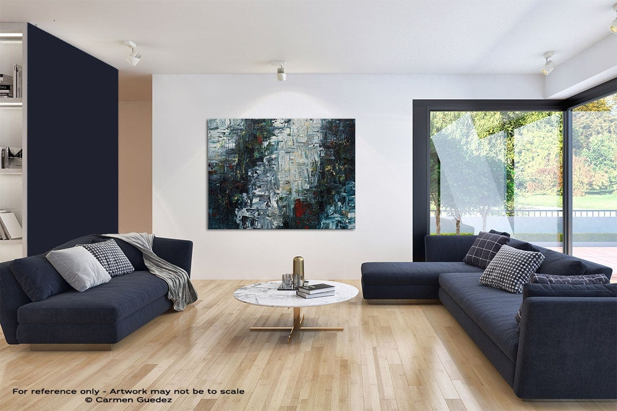 Calming Falls Modern Blue Abstract Painting Home Id50