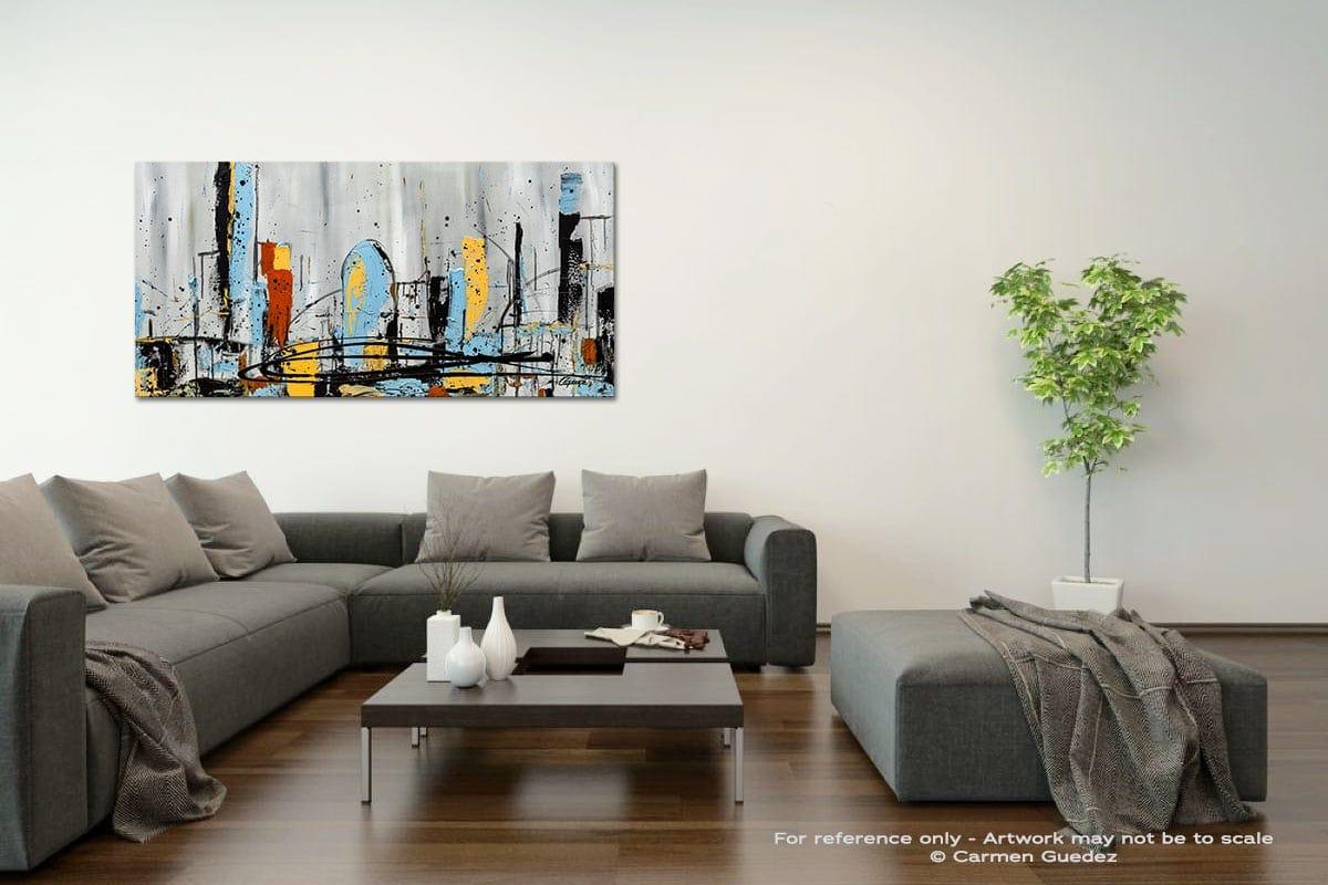 City Limits Acrylic Gray Wall Art Painting Id34