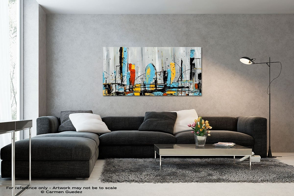 City Limits Black And White Wall Abstract Art Painting Id70