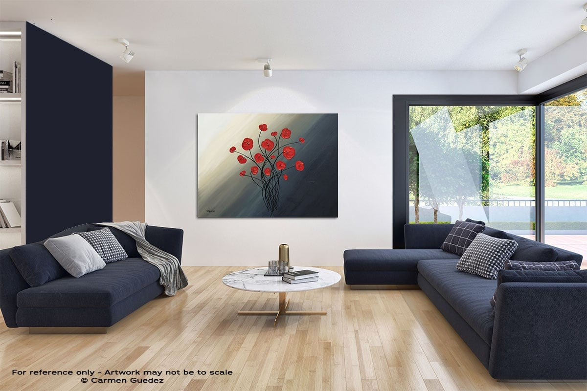 Clair De Lune Modern Blue Abstract Painting Home Id50