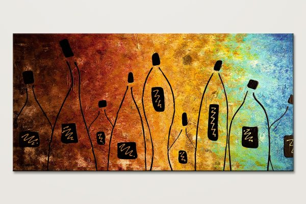 Cocktail Bar Large Wine Abstract Art Painting Id80