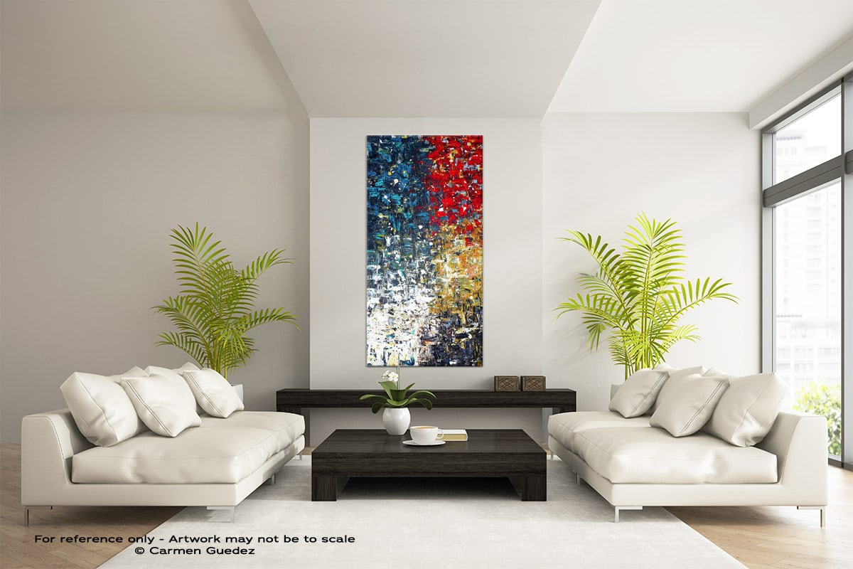 Copacabana Vertical Large Abstract Painting Id16
