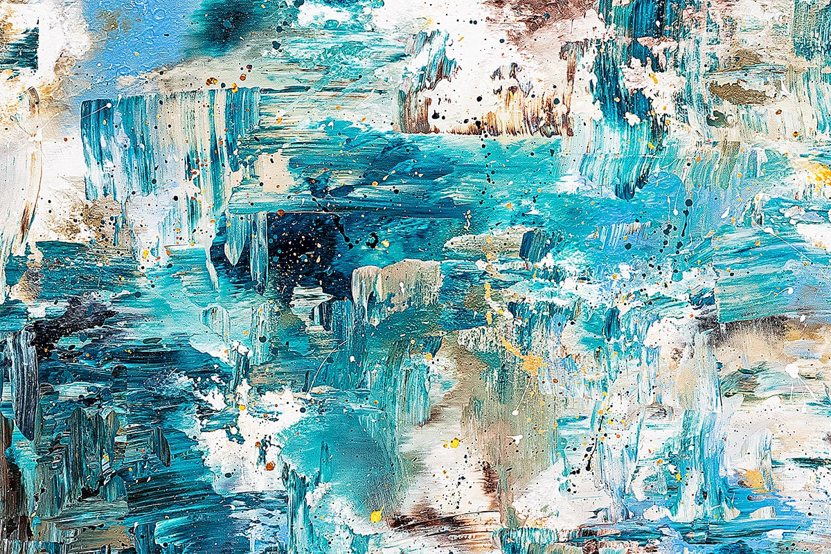 Coral Reef Abstract Art Painting Close Up