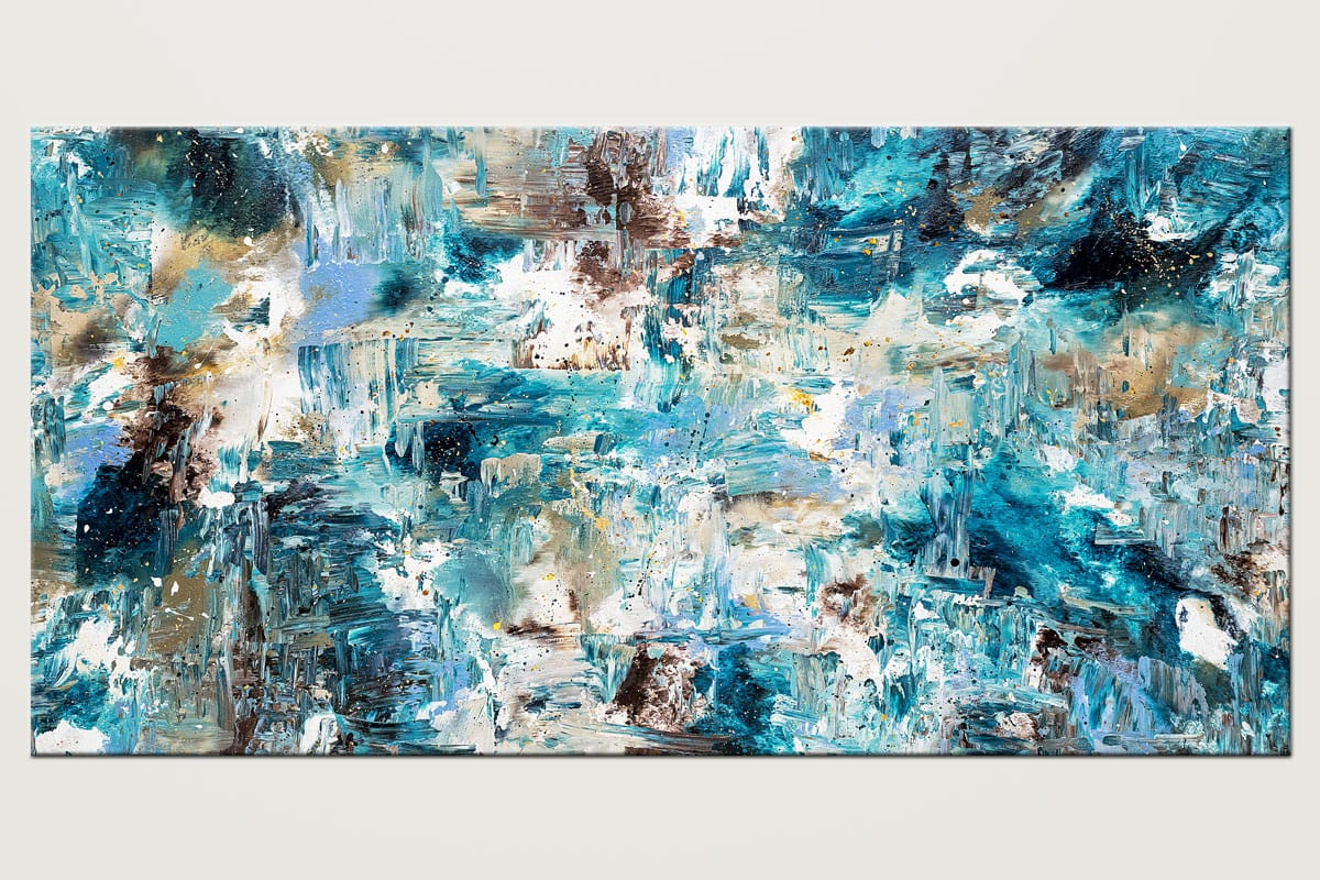 Coral Reef Extra Large Blue Abstract Painting Id80