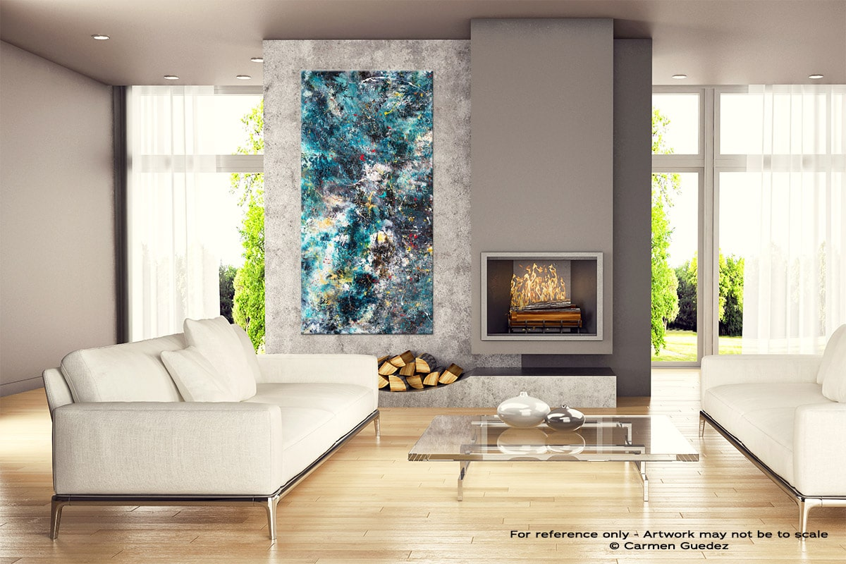 Cosmos Abstract Canvas Painting Home View V1 Id11