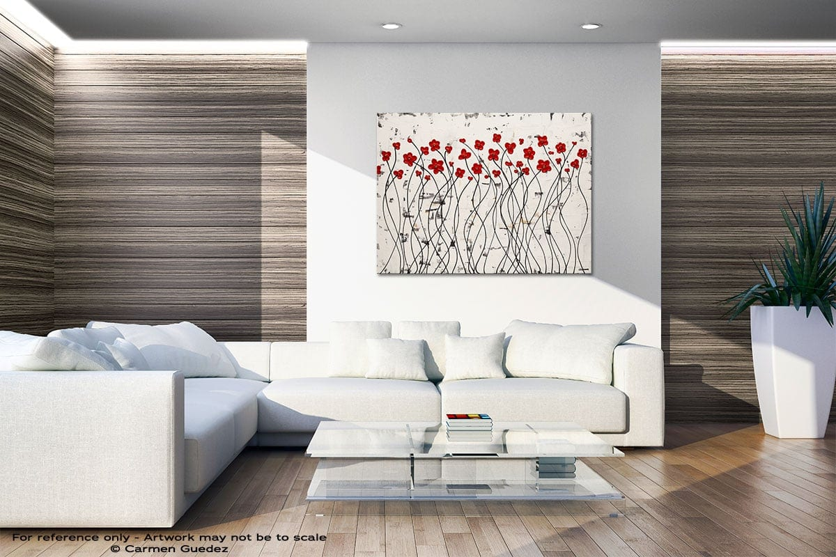 Dancing Poppies Neutral Wall Abstract Art Home Id51
