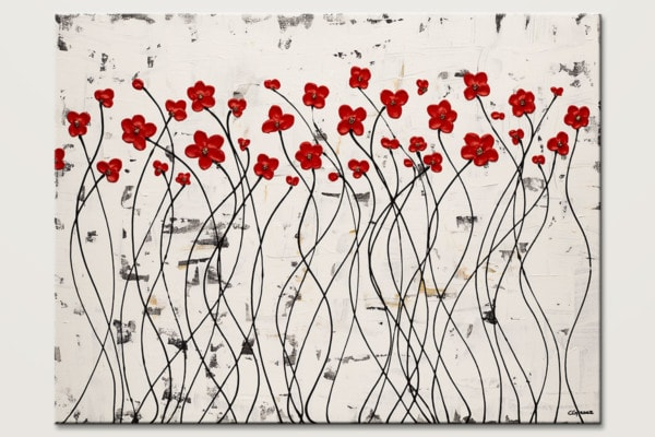 Dancing Poppies Poppy Flowers Painting Id80
