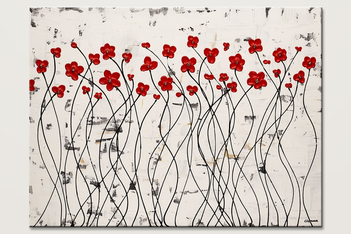 Dancing Poppies - Abstract Art Painting Image by Carmen Guedez